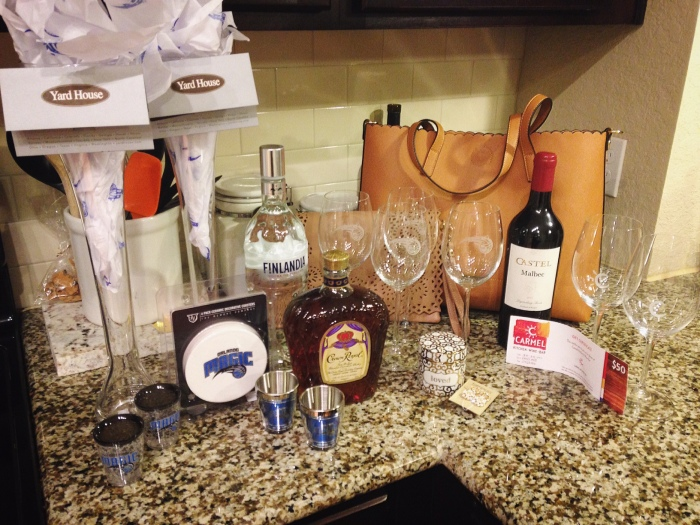 omyf silent auction items that we walked home with...i'd say keith and i did well.