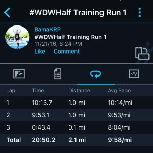 #wdwhalf training run - 1